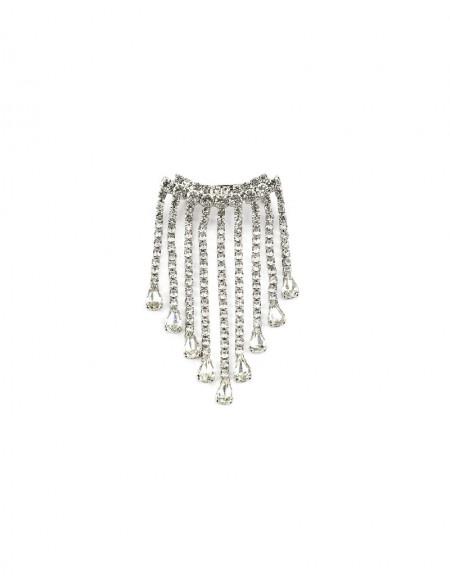 Silver Stone Tassel Brooch