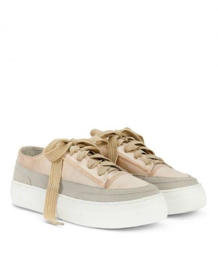 Brown Satin Textured Sneaker