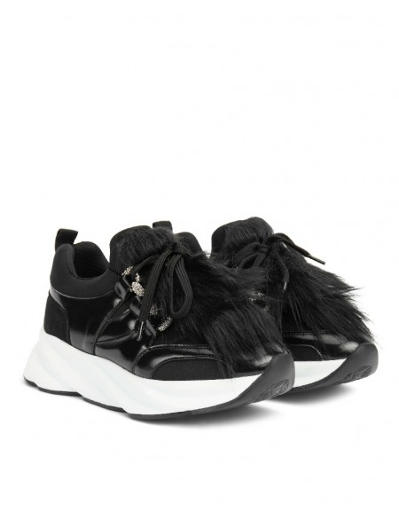 Black Feather Mix Sneaker