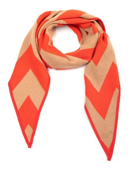 Orange Knitted Shawl