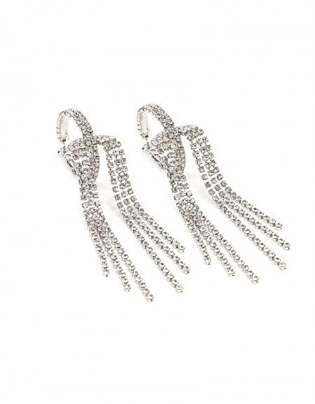 Silver Stone Tassel Hoop Earrings