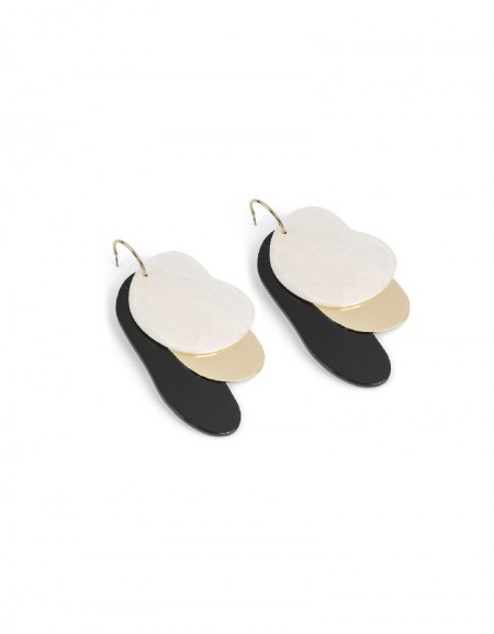 White Stamp Cross Hoop Earrings