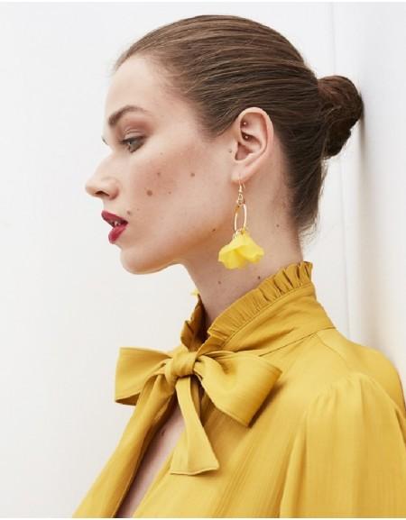 Yellow Flower Form Hoop Earrings