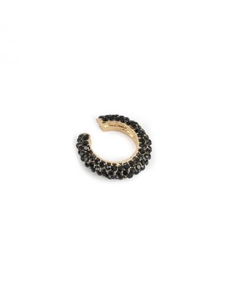 Black Stone Row Hoop Earrings