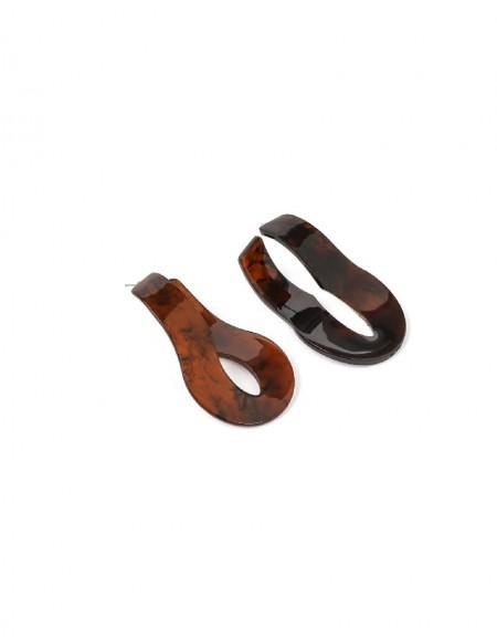 Brown Fluid Form Hoop Earrings