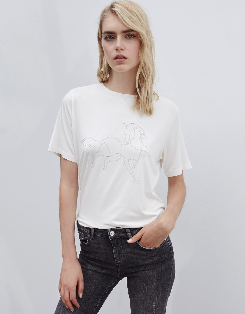 Beige Horse Figure Embroidery T-Shirt