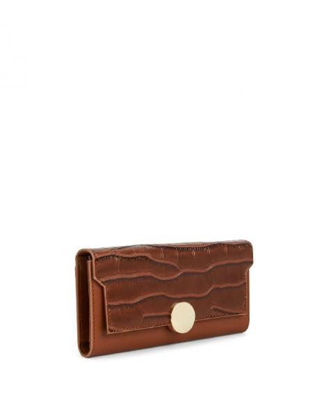 Brown Crocodile Pattern Wallet