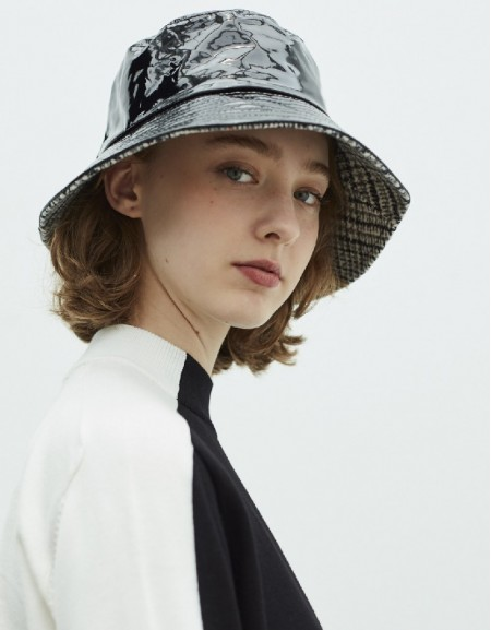 Black Patent Leather Hat With Plaid Lining