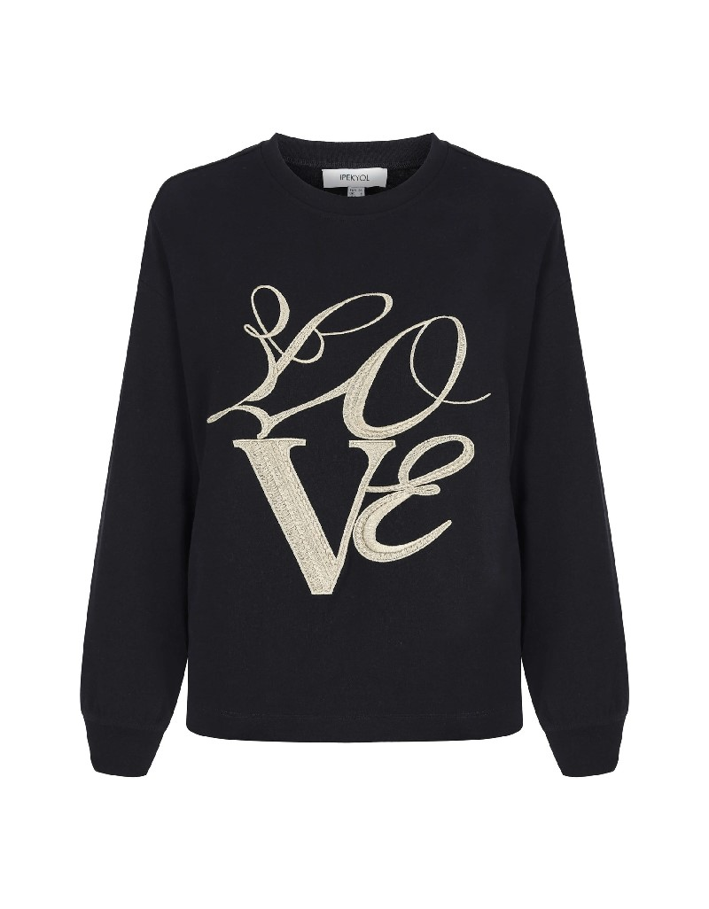 Black Slogan Embroidered Sweatshirt