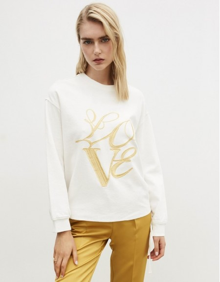 White Slogan Embroidered Sweatshirt