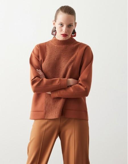 Brown Knitwear Mix Sweatshirt