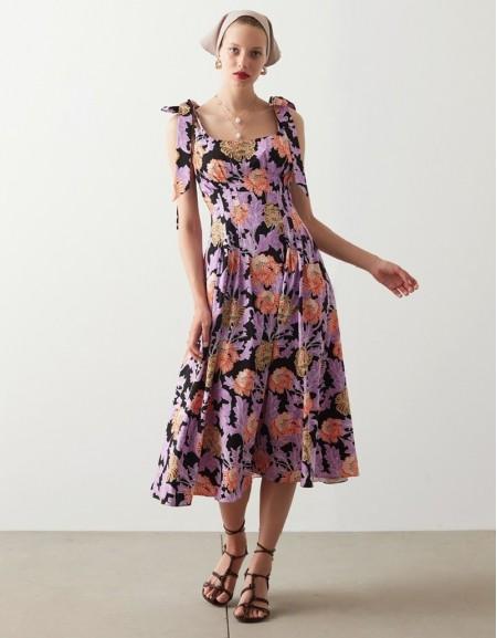 Violet Floral Printed Dress