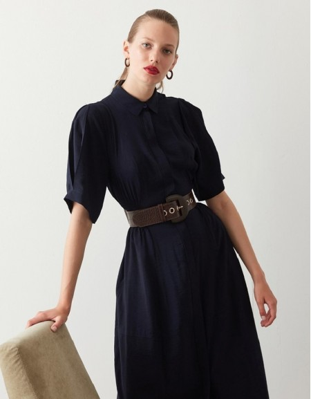 Navy Waist Highlighted Shirt Dress