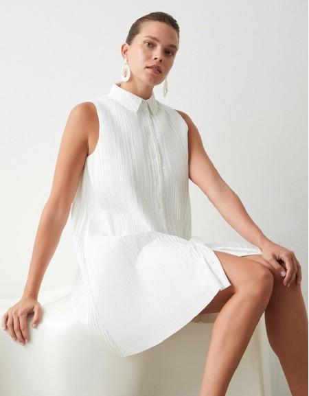 White Pleat Formal Dress