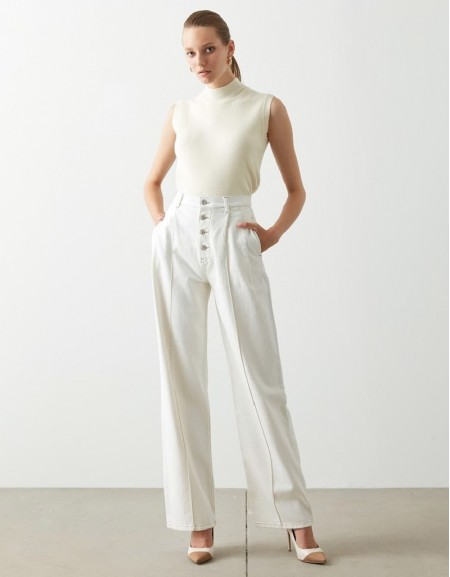 Oil Contrast Stitched Gabardine Trousers