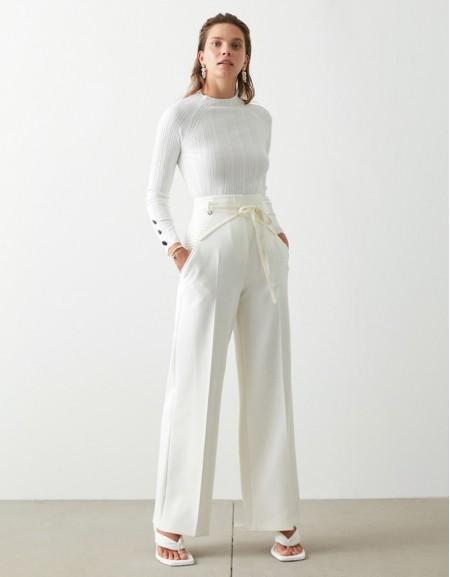 Beige Rib Detailed Trousers
