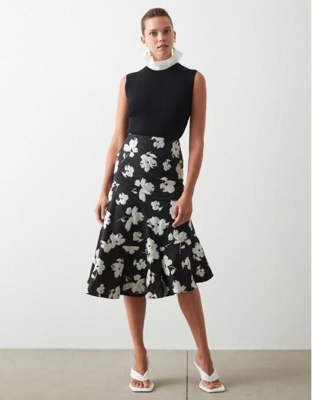 Black Floral Jacquard Skirt