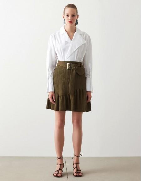 Khaki Textured Fabric Skirt