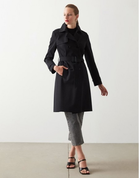 Black Classic Cut Trench Coat