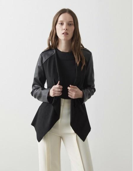 Black Suede Leather Mix Coat