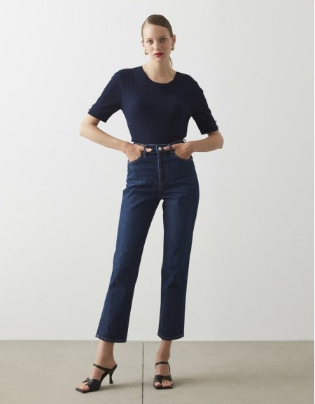 Blue High Rise Straight Fit Jeans