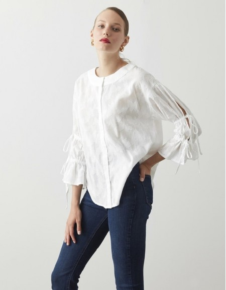 White Woven Fabric Shirt