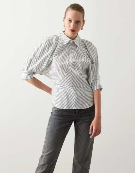 White Line Pattern Shirt