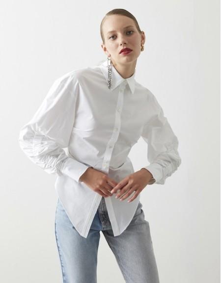 White Sleeve Detailed Shirt