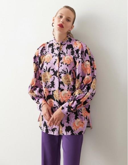 Violet Floral Printed Shirt