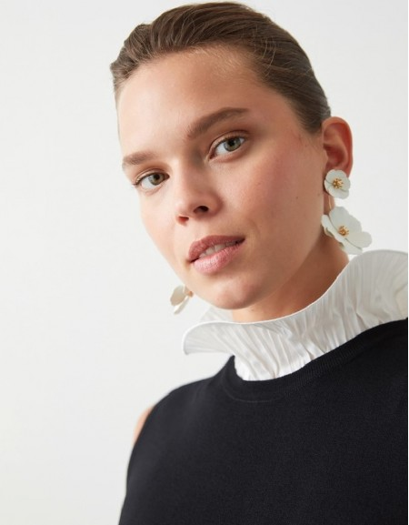Black Ruffle Collar Knitwear