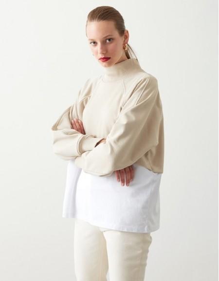 Beige Two Piece Look Sweatshirt