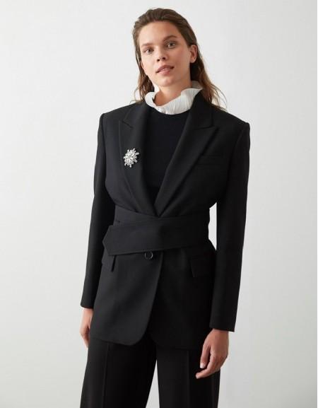 Black Thick Belt Detailed Blazer