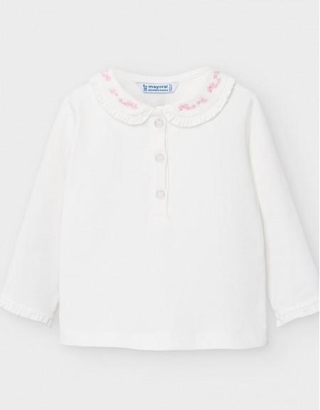 Natur-Pink Long Sleeve Polo Basic