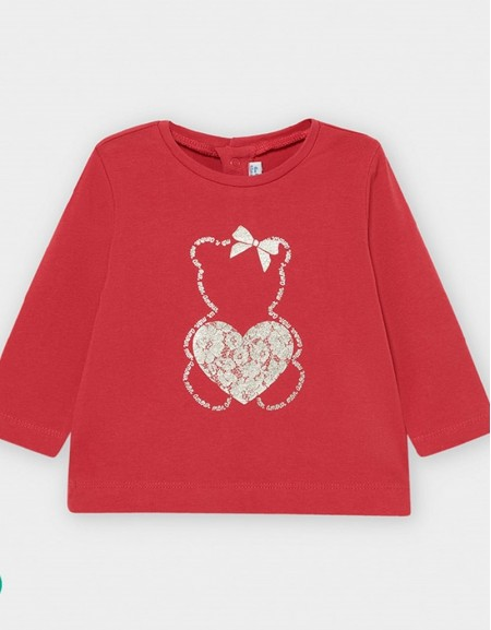 Coral Long Sleeved Basic Heart T-Shirt