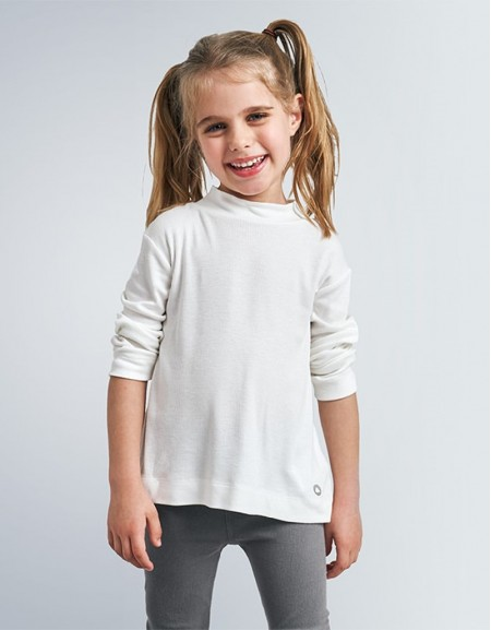 Natural Long Sleeved High Neck Basic T-Shirt