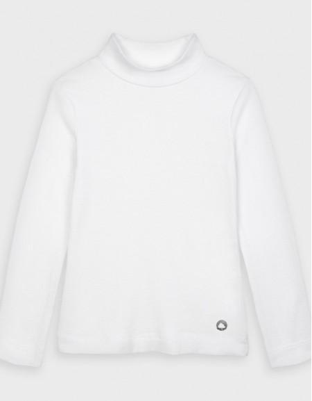 White Long Sleeved High Neck Basic T-Shirt