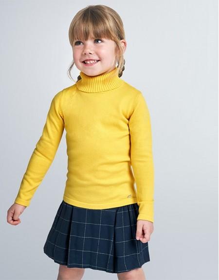 Yellow High Neck Knit Jumper