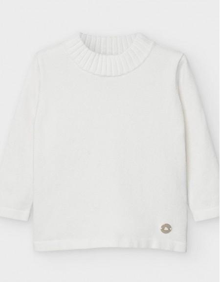 Natural Basic Knitting Mockneck Sweate