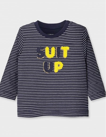 Navy Long Sleeved Striped T-Shirt With Letters