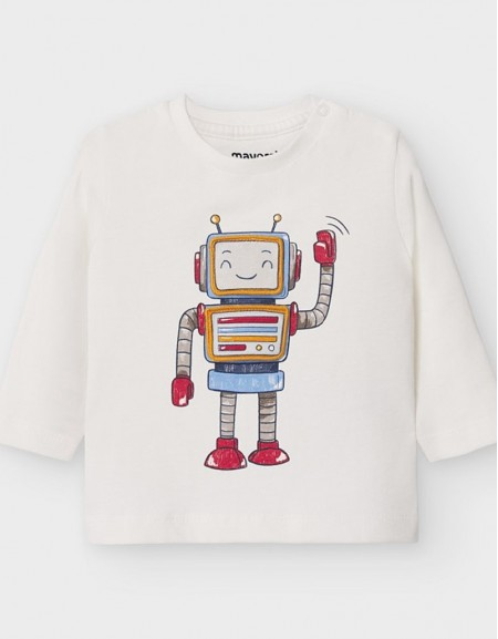 Cream Long Sleeved Play With Robot T-Shirt
