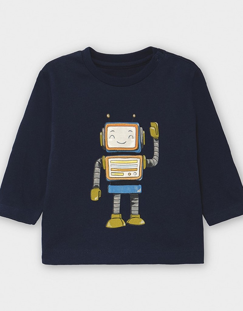 Blue Long Sleeved Play With Robot T-Shirt