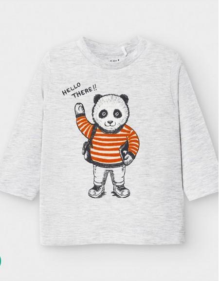 Gray Long Sleeved Panda T-Shirt