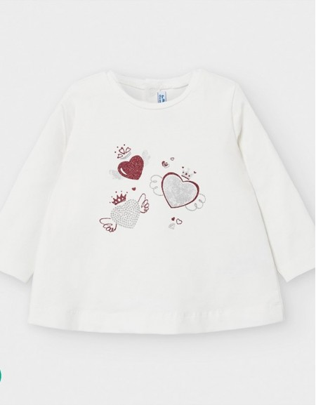 Hearts Long Sleeved T-Shirt With Design