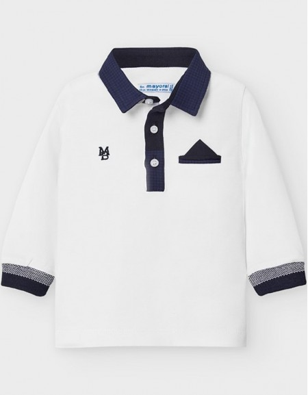 White Formal Long Sleeved Polo Shirt