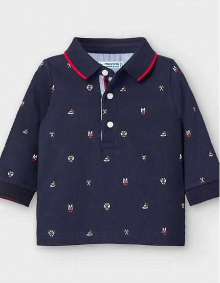 Blue Long Sleeved Patterned Polo Shirt