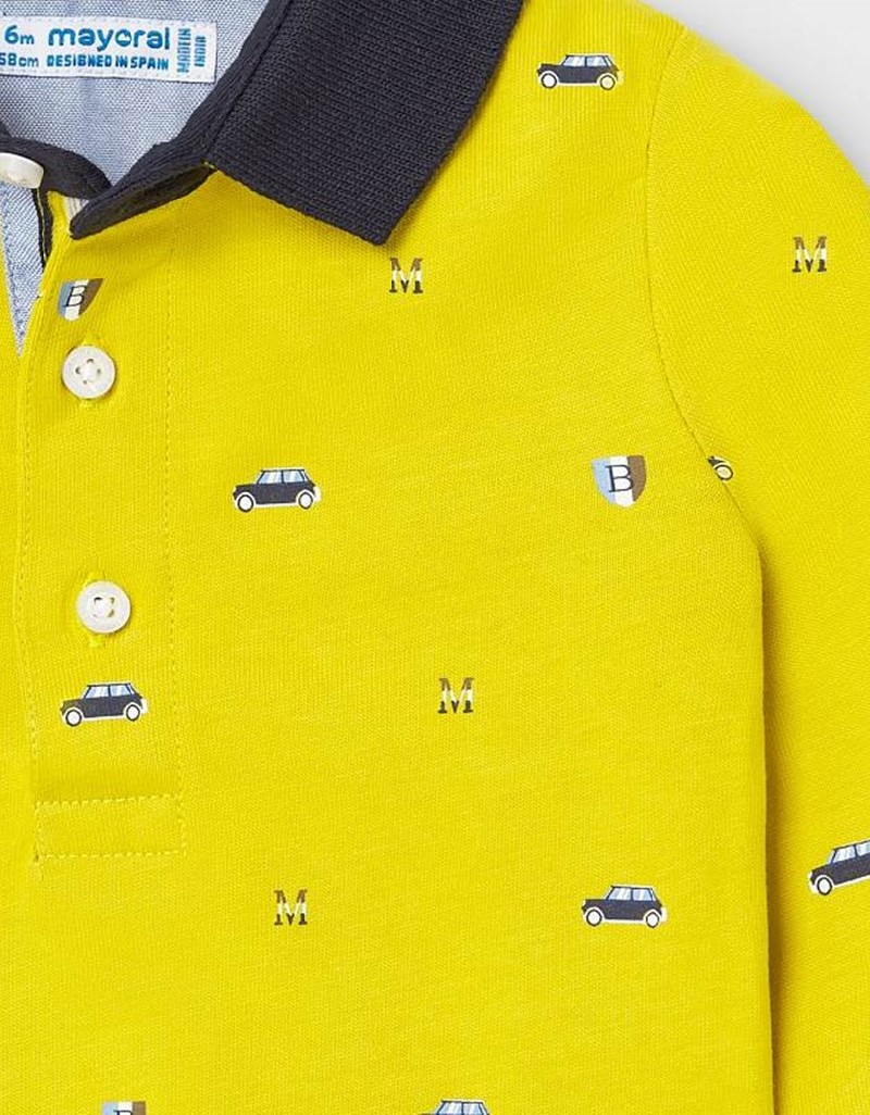 Aove Long Sleeved Patterned Polo Shirt