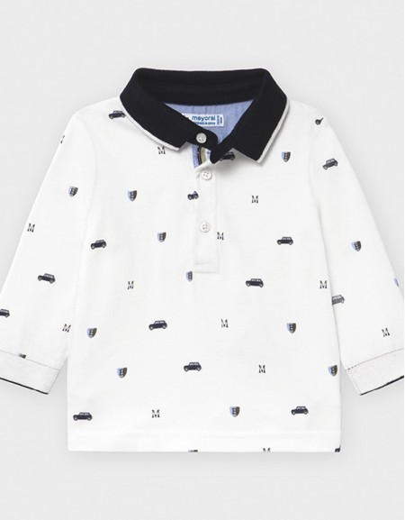 Cream Long Sleeved Patterned Polo Shirt