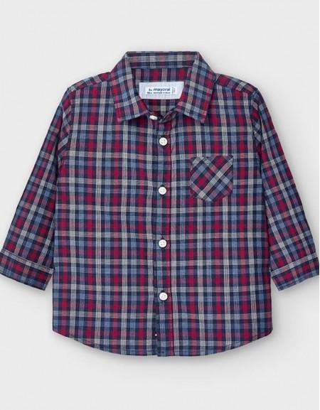 Blue Long Sleeved Poplin Checked Shirt