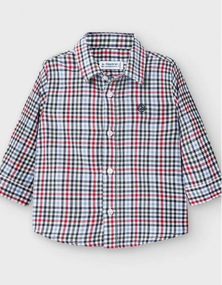 Red Long Sleeved Checked Shirt