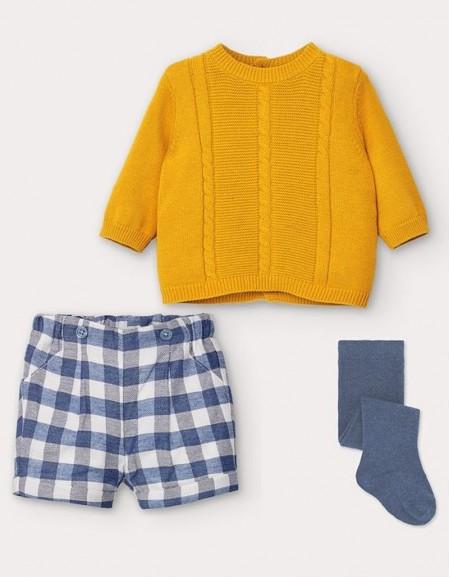 Orangy Cardigan And Checked Shorts Set